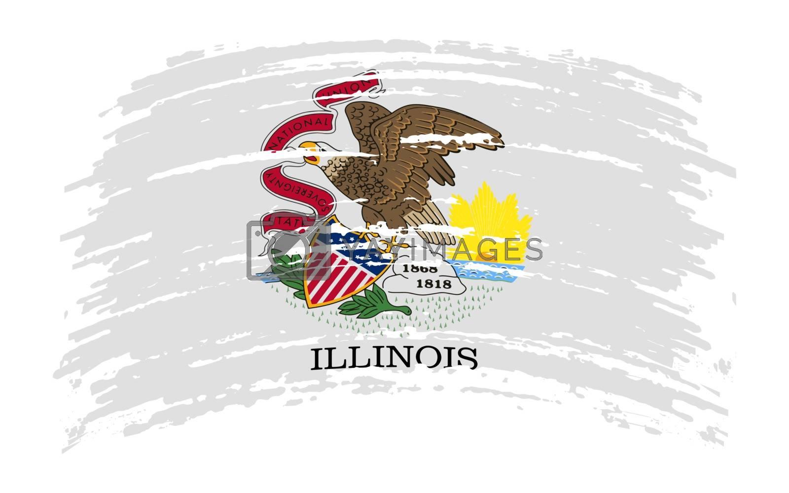 Illinois US flag in grunge brush stroke, vector image