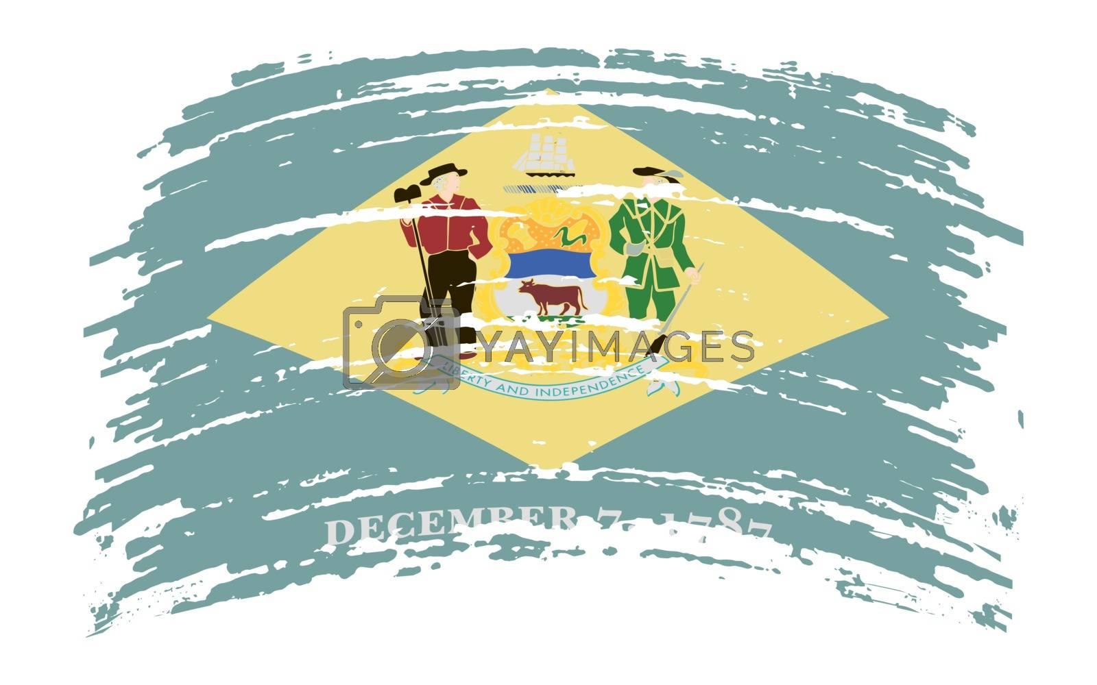 Delaware US flag in grunge brush stroke, vector image
