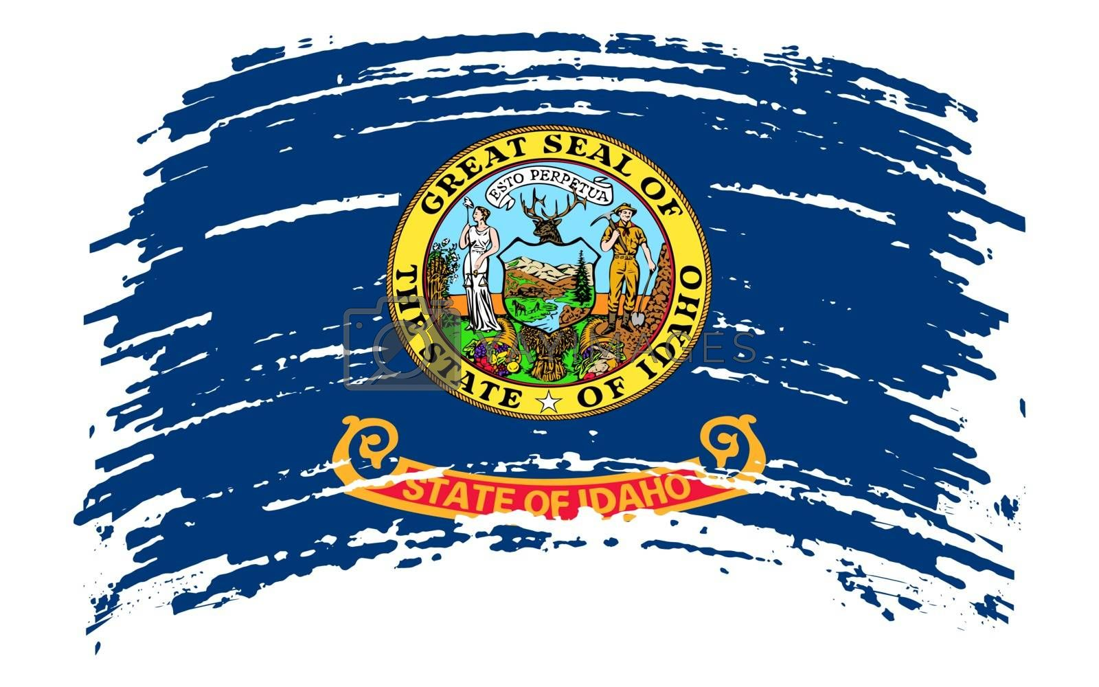 Idaho US flag in grunge brush stroke, vector image