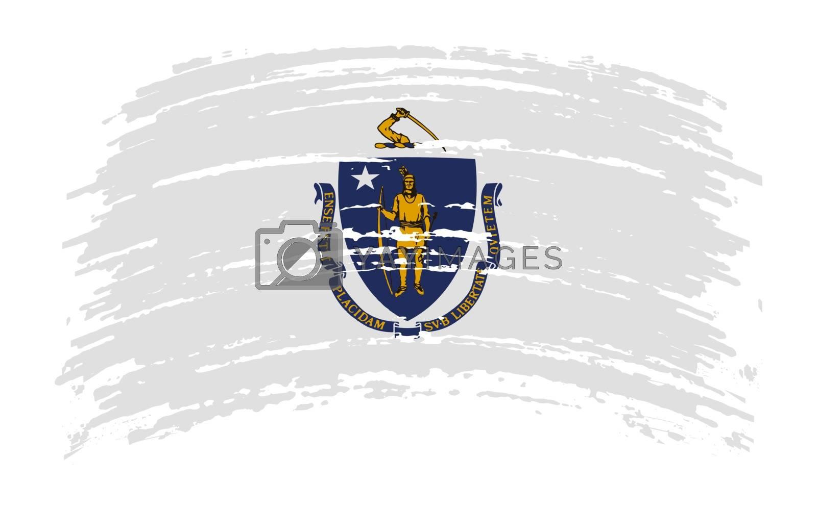 Massachusetts US flag in grunge brush stroke, vector image