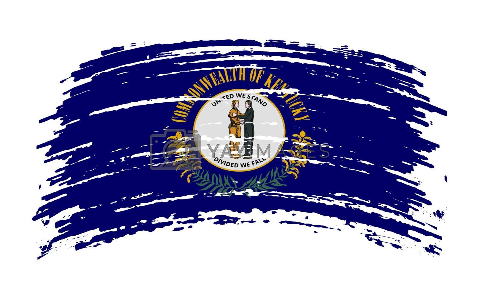 Kentucky US flag in grunge brush stroke, vector image