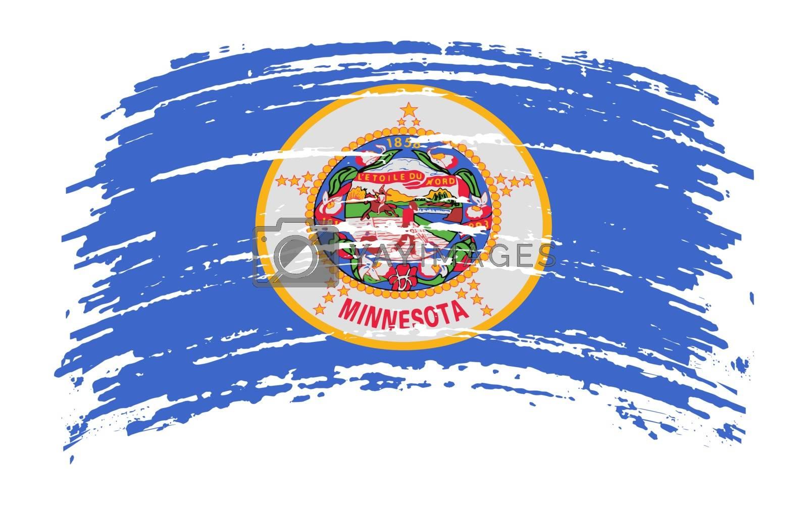 Minnesota US flag in grunge brush stroke, vector image