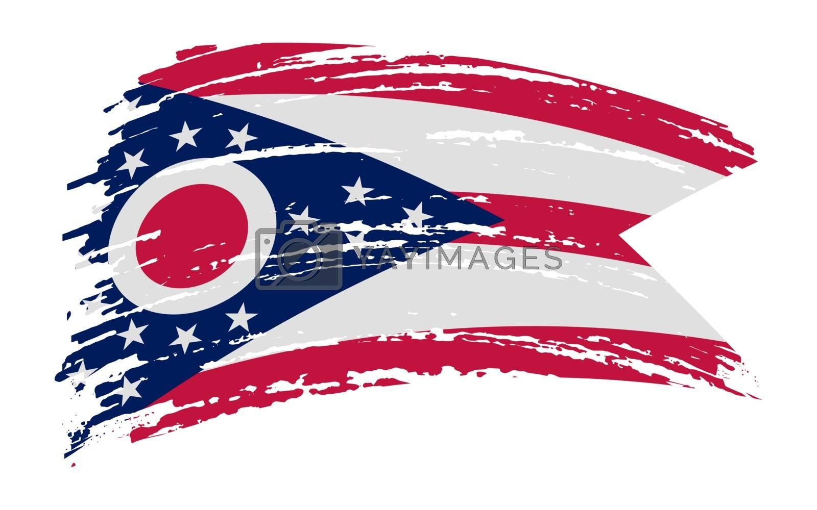 Ohio US flag in grunge brush stroke, vector image