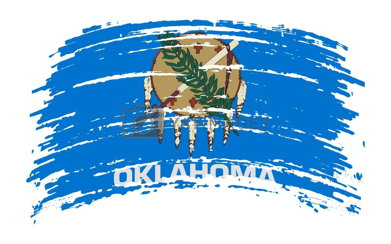 Oklahoma US flag in grunge brush stroke, vector image