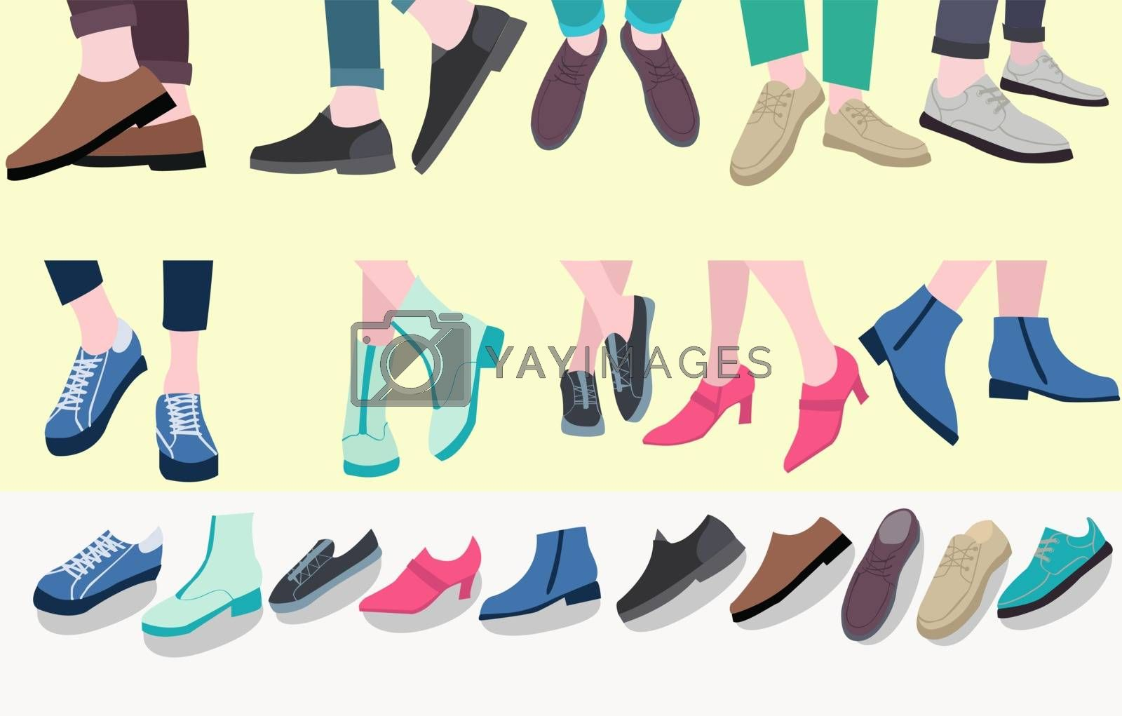 Vector set of pairs stylish footwear male and female legs in the shoes for Different Seasons, Flat design.