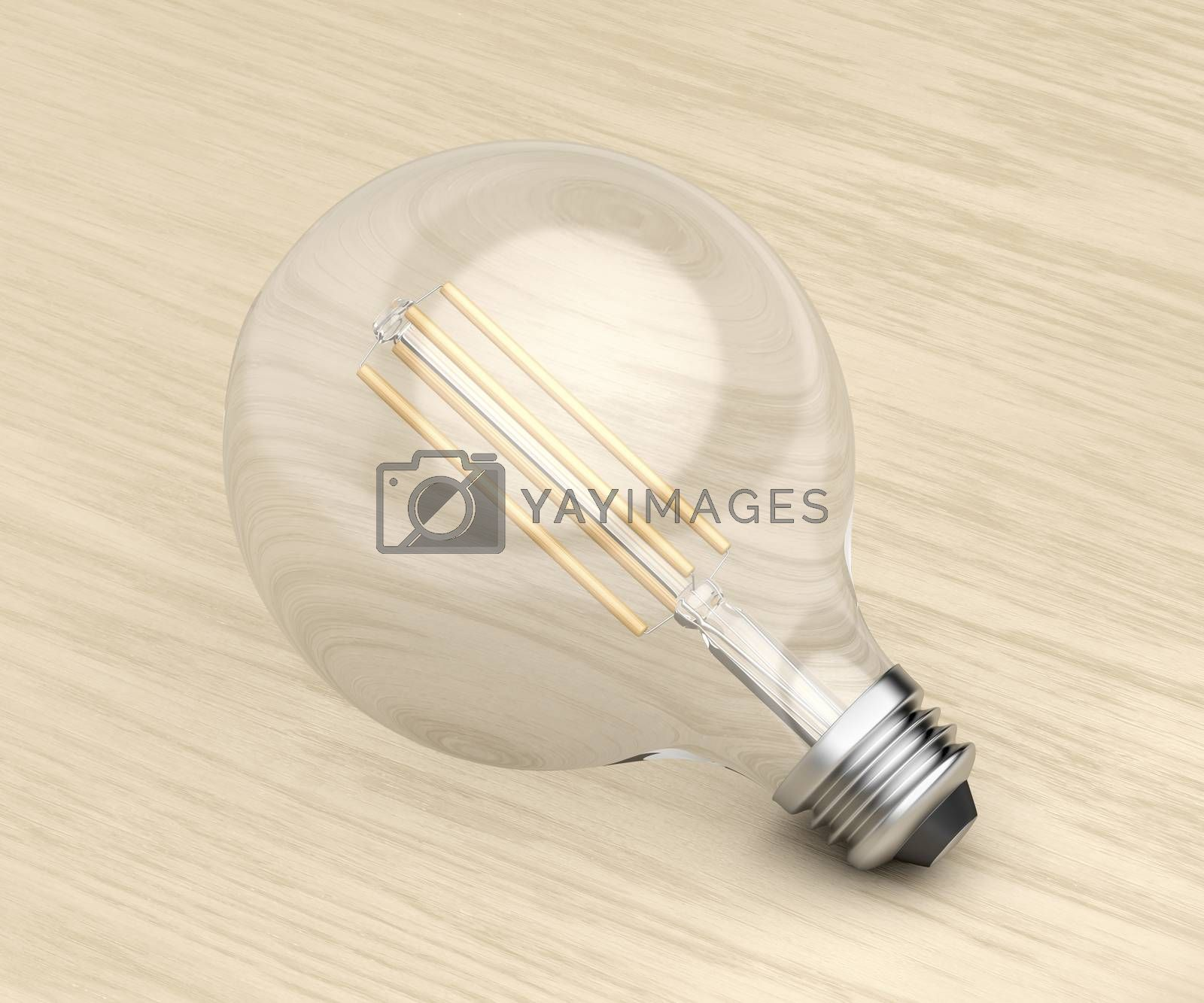 Decorative LED bulb on wooden background