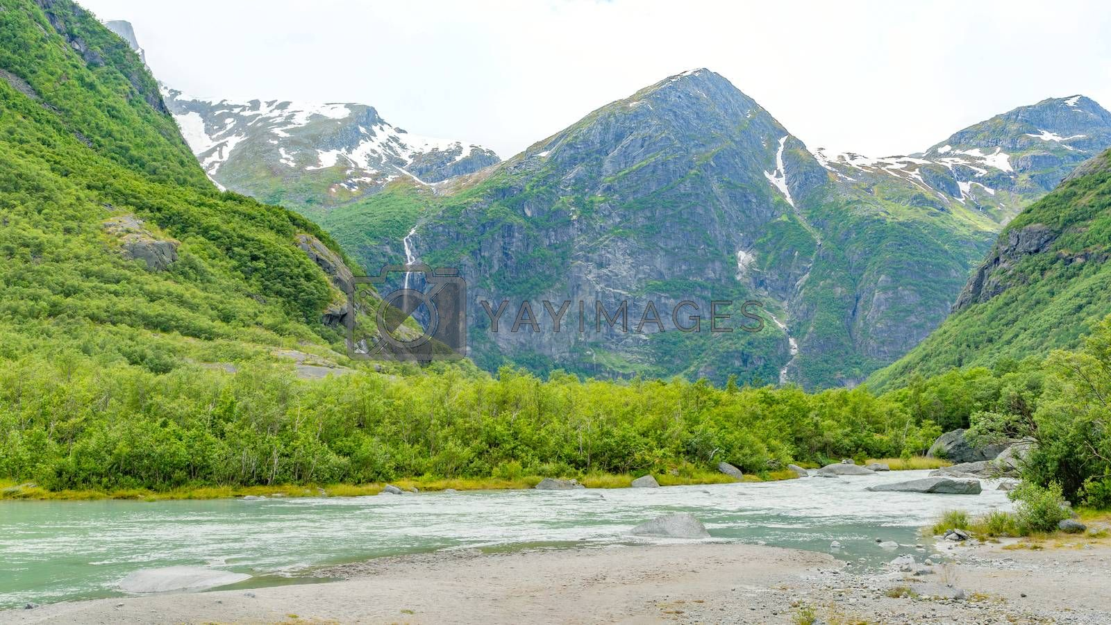 Norway landscapes. Beautiful mountainous landscape around Norwegian fjord in sunny day. Beautiful Nature Norway natural landscape.
