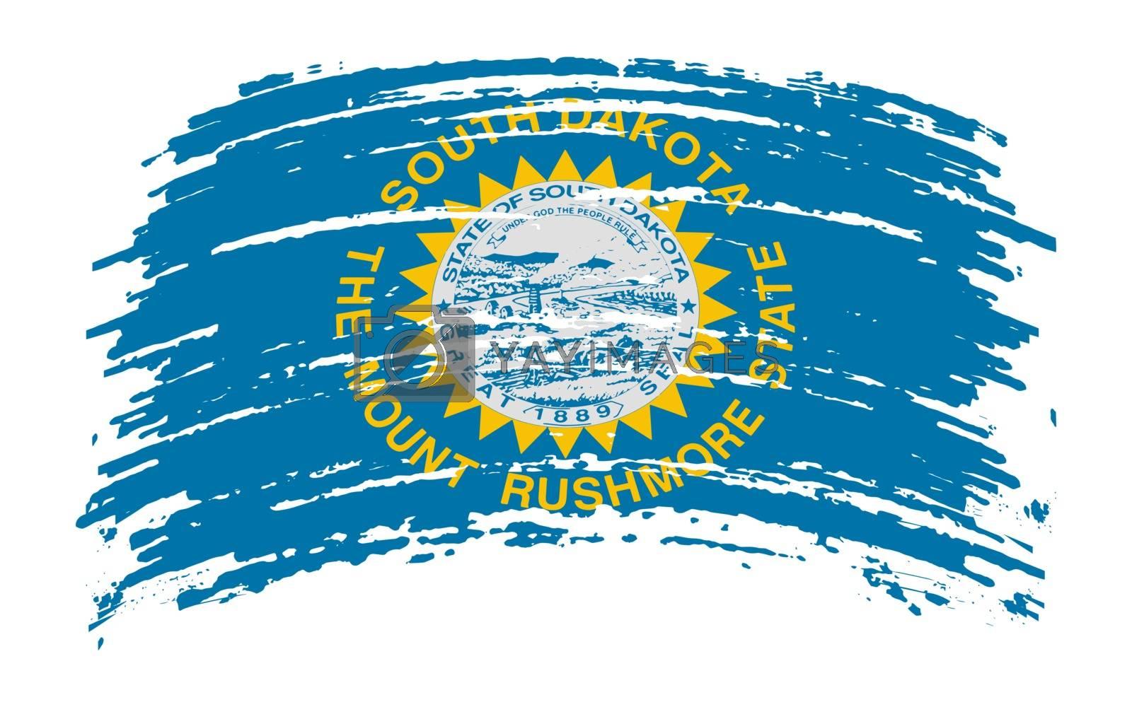 South Dakota US flag in grunge brush stroke, vector image