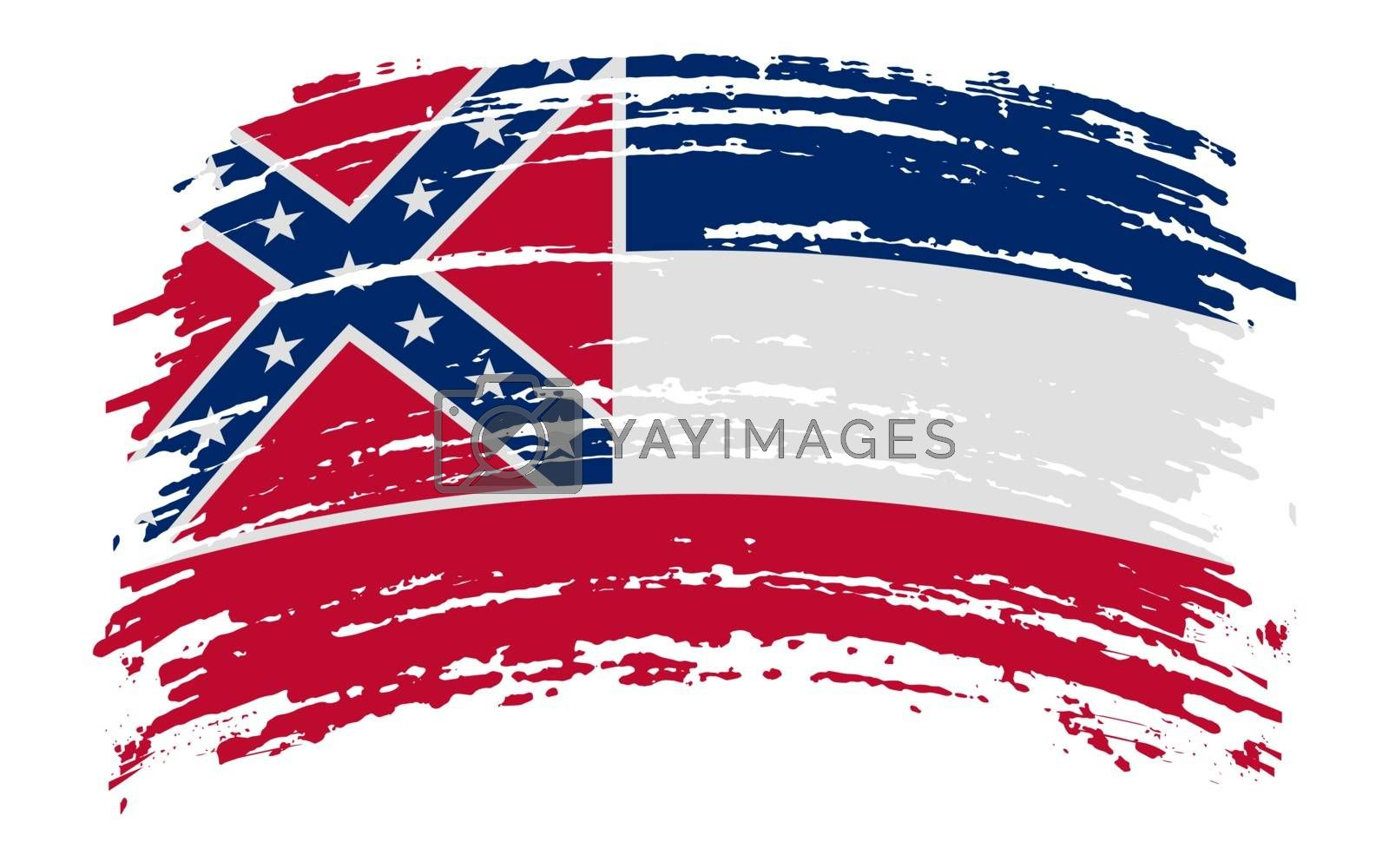 Mississippi US flag in grunge brush stroke, vector image