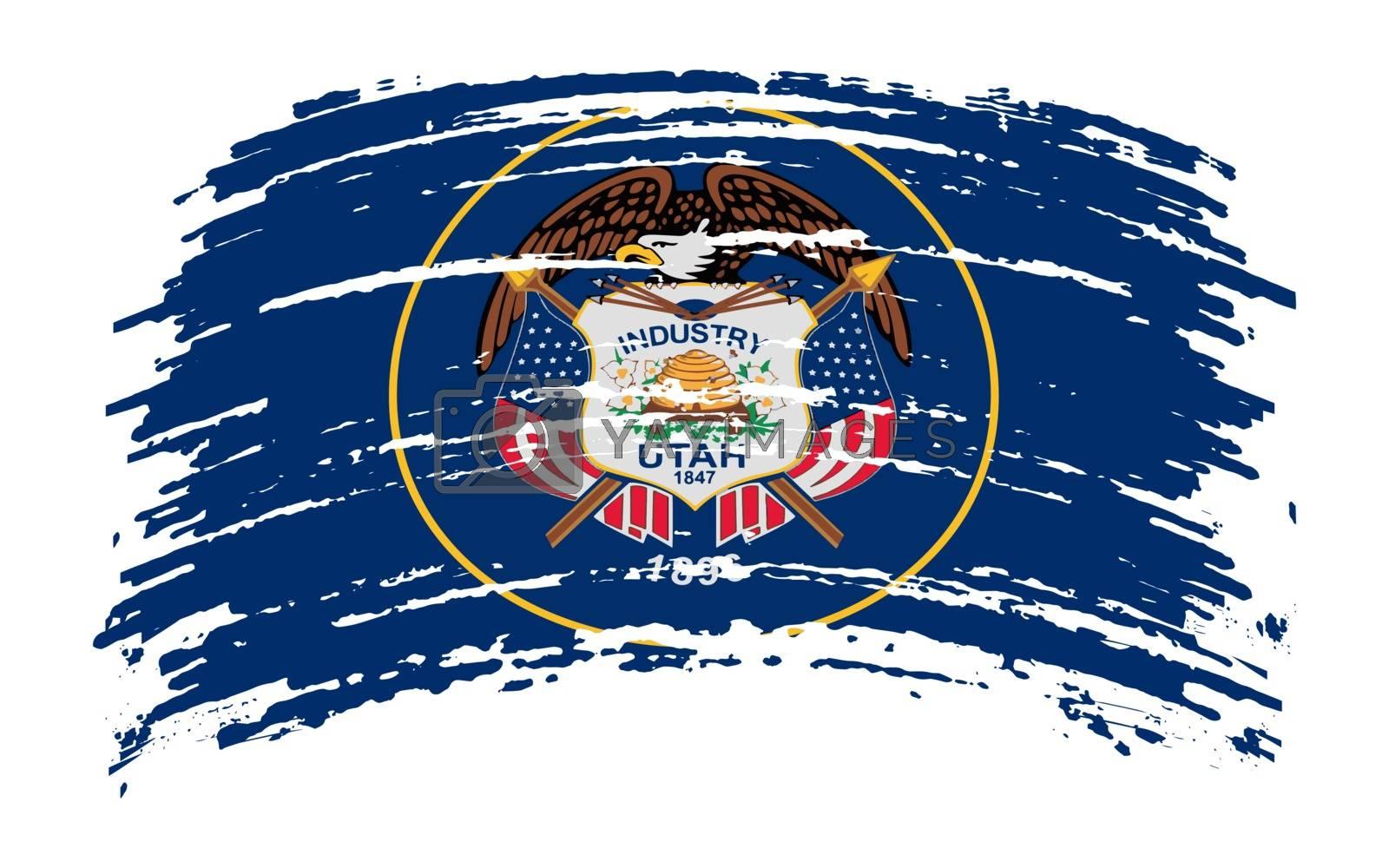 Utah US flag in grunge brush stroke, vector image