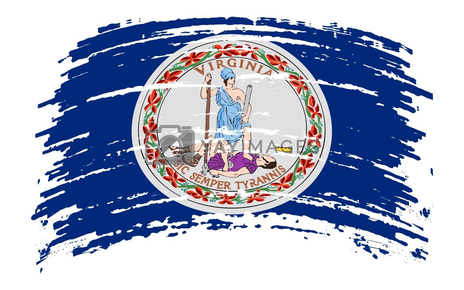Virginia US flag in grunge brush stroke, vector image