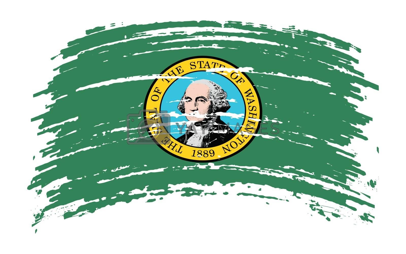Washington US flag in grunge brush stroke, vector image