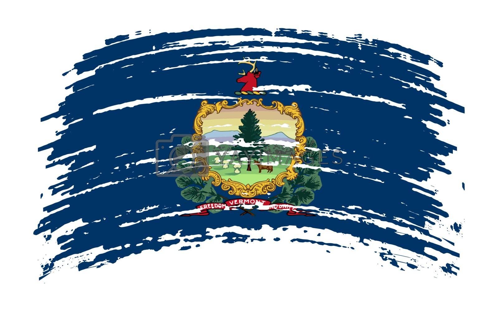 Vermont US flag in grunge brush stroke, vector image