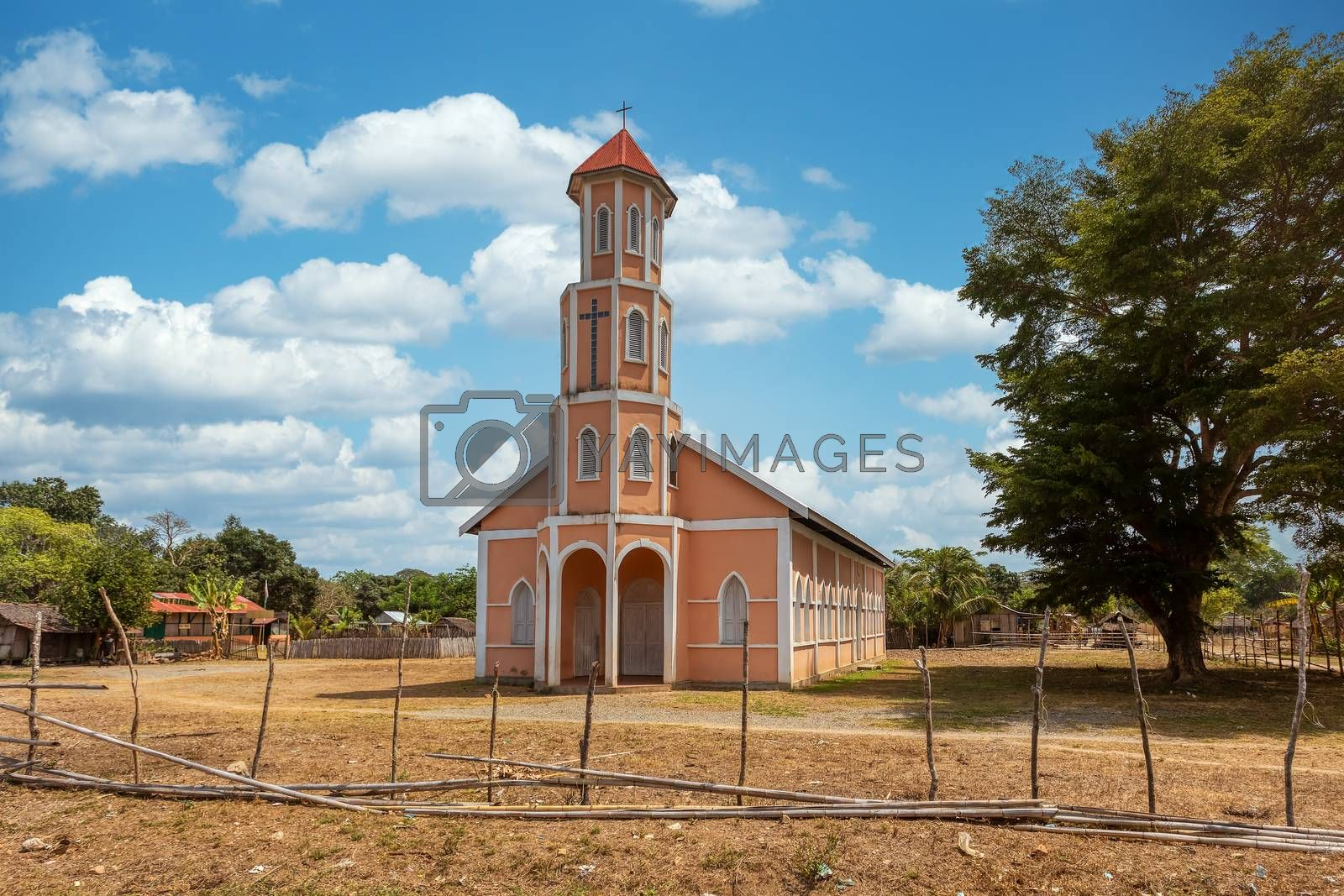 Small christian church in rural area, Madagascar countryside