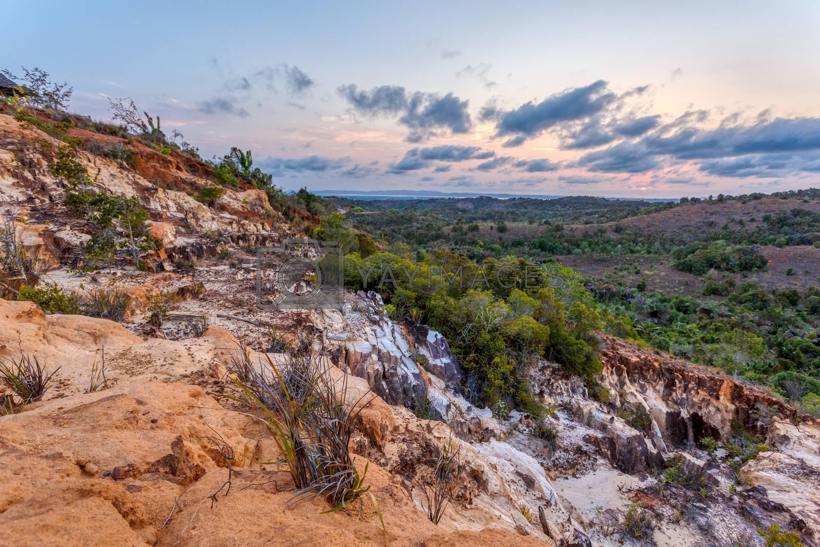 beautiful sunset in landscape near Nosy Be, Madagascar countryside