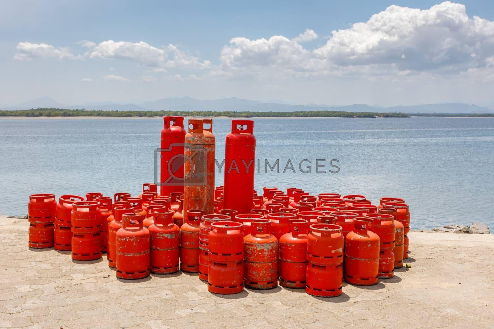 Domestic red Propane Gas Bottle on port in Nosy Be, Madagascar