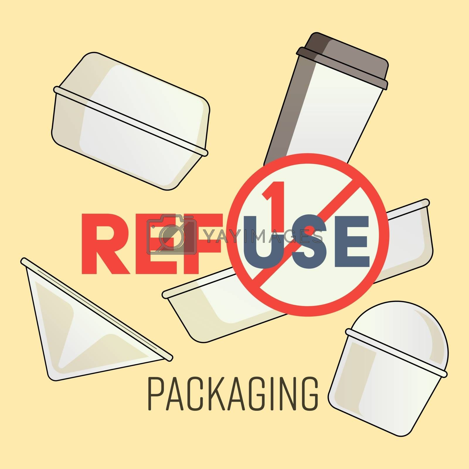 Typographic design with outline flat symbols of single-use plastic package. Refuse single-use packaging concept. Vector illustration.