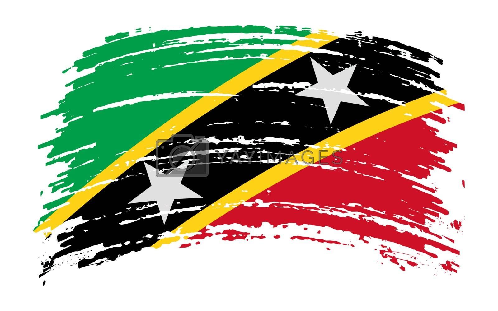 Saint Kitts and Nevis flag in grunge brush stroke, vector image