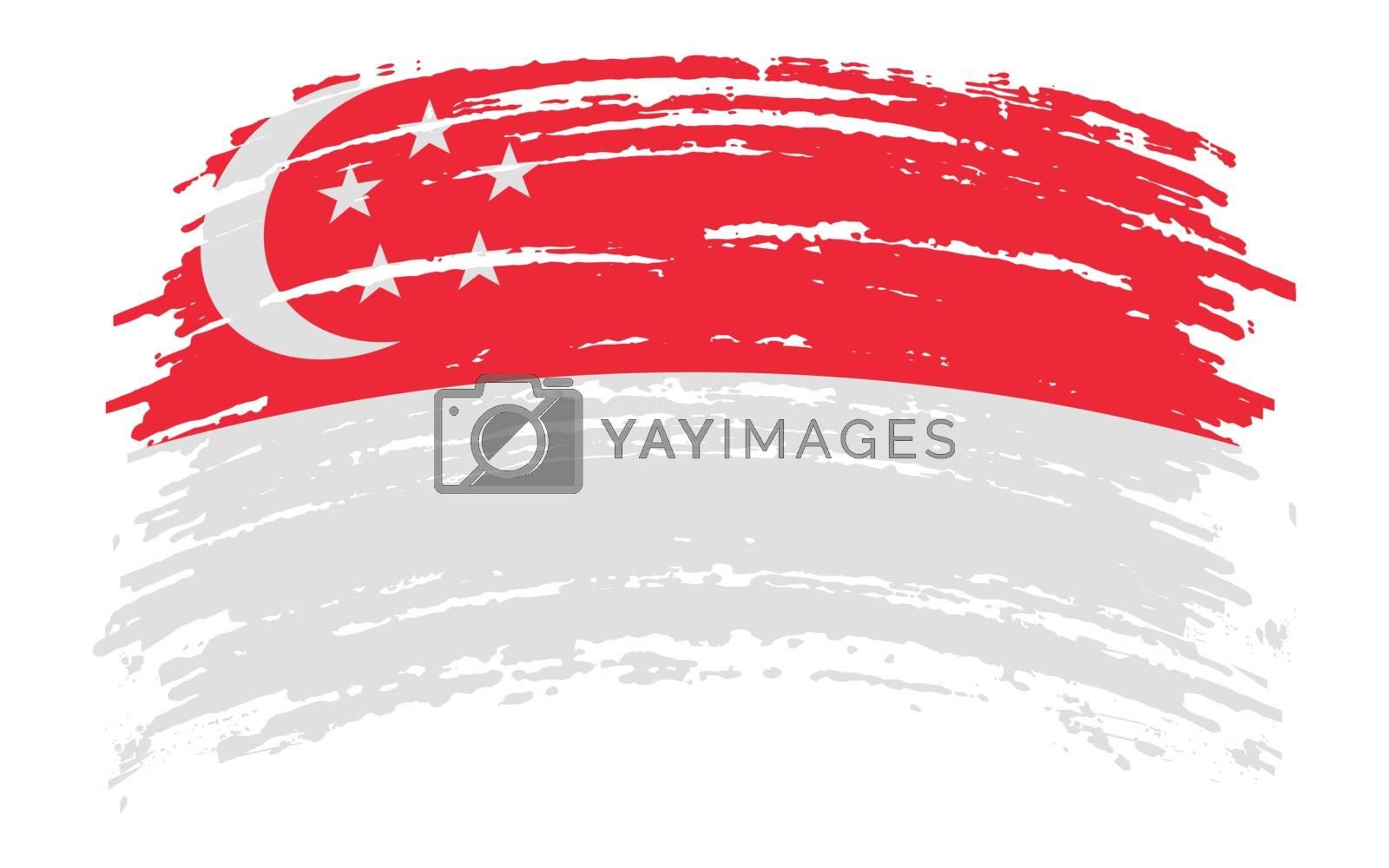 Singapore flag in grunge brush stroke, vector image