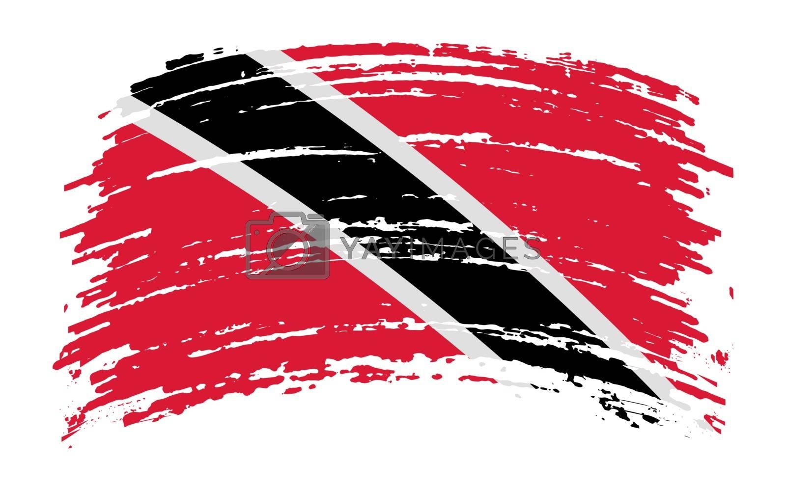 Trinidad and Tobago flag in grunge brush stroke, vector image