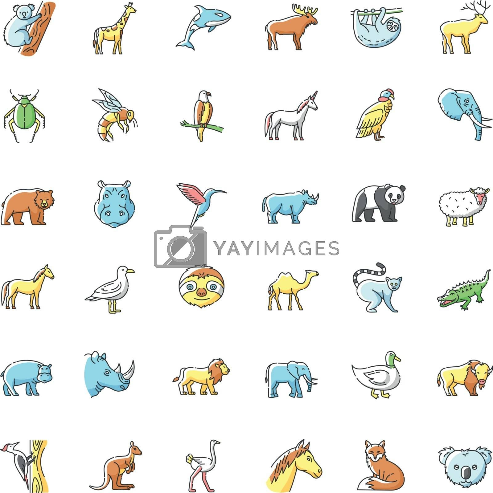 Animals RGB color icons set. Different wildlife, diverse fauna. Common and exotic animal species. Flying, land and sea creatures. Isolated vector illustrations
