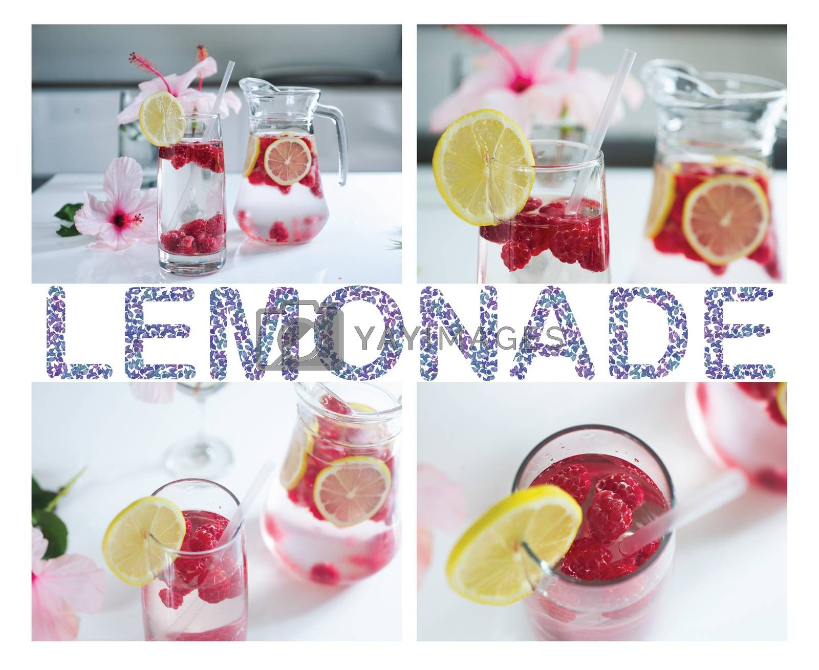 Tasty Lemonade with fresh raspberries and lemon by Margolana