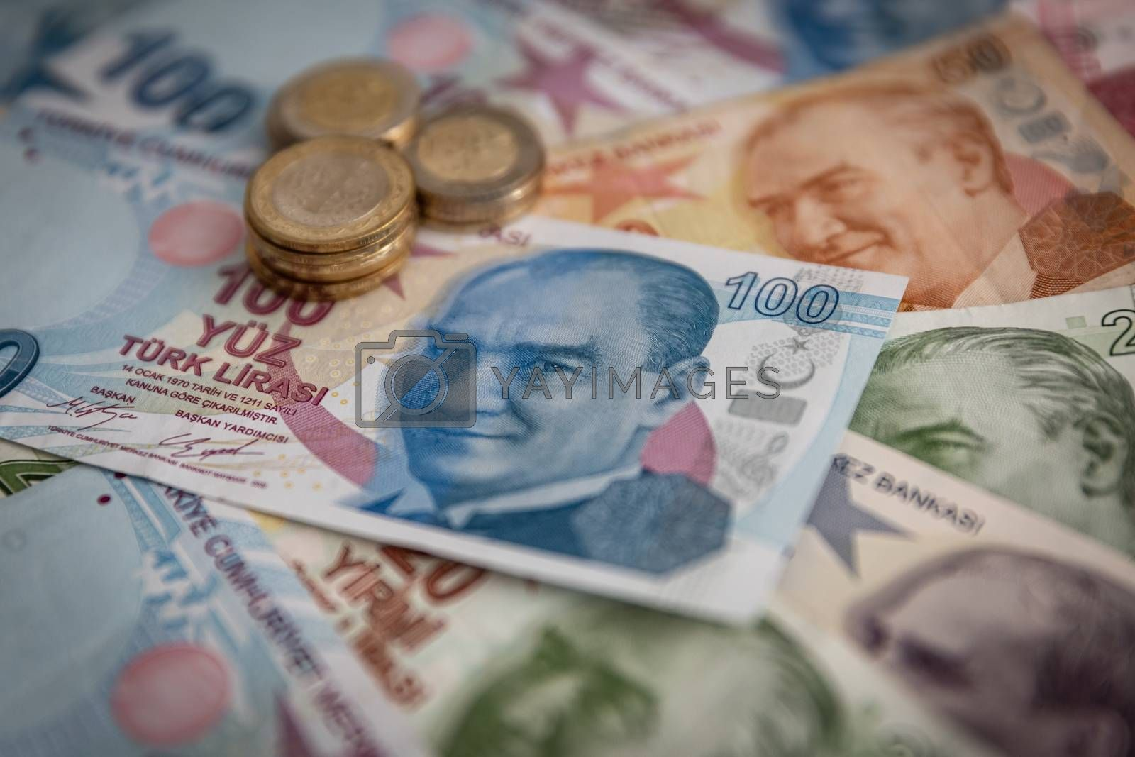 Bunch of Various Turkish Currency Lira Banknotes and Coins