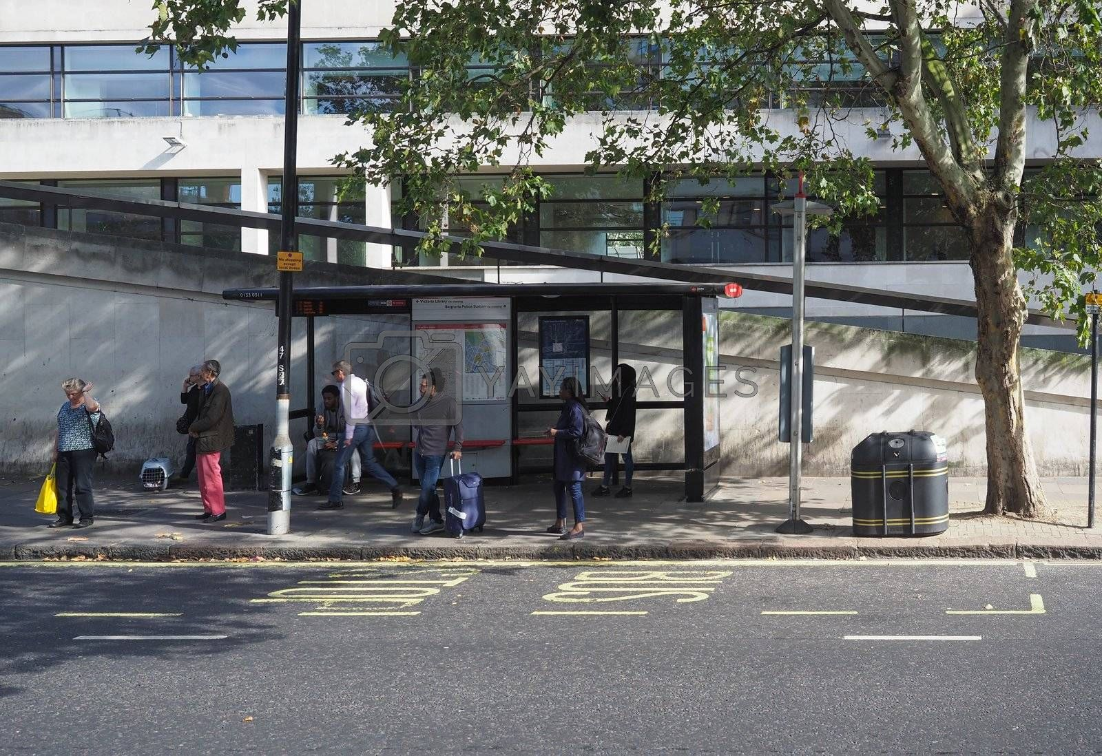 LONDON, UK - CIRCA SEPTEMBER 2019: Public transport bus stop