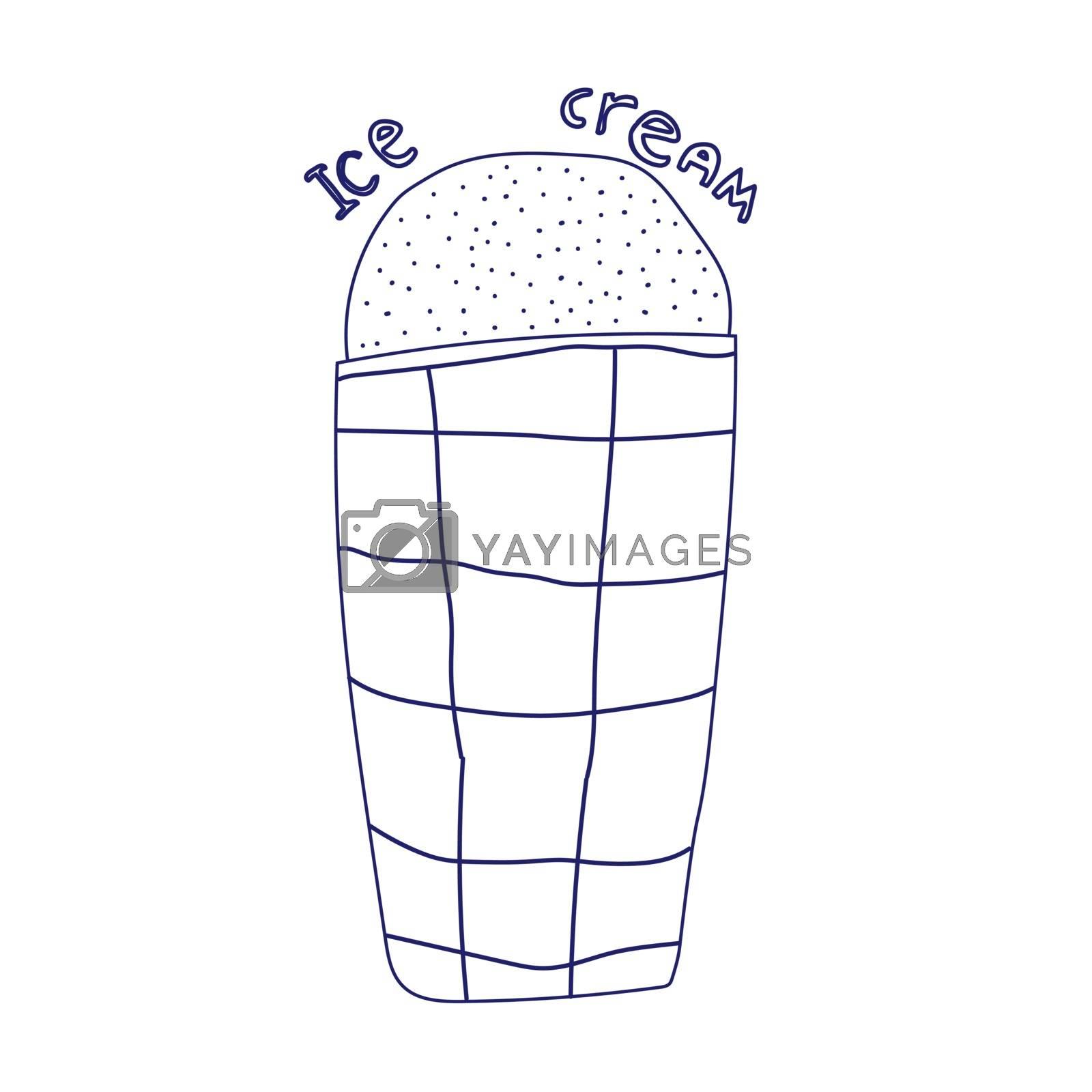 Doodle ice cream cone frozen dessert style sketch in vector format.