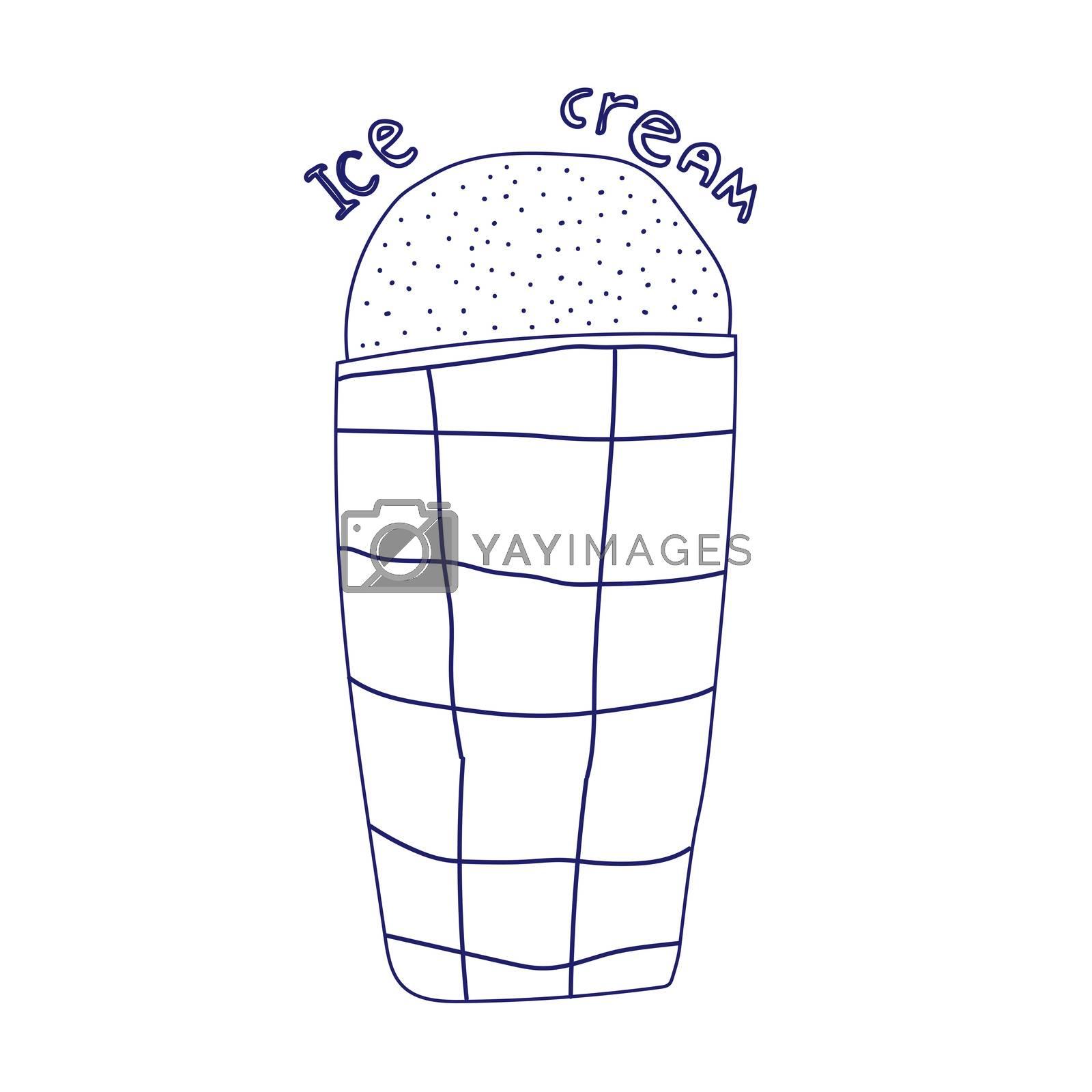 Doodle ice cream cone frozen dessert style sketch in format.