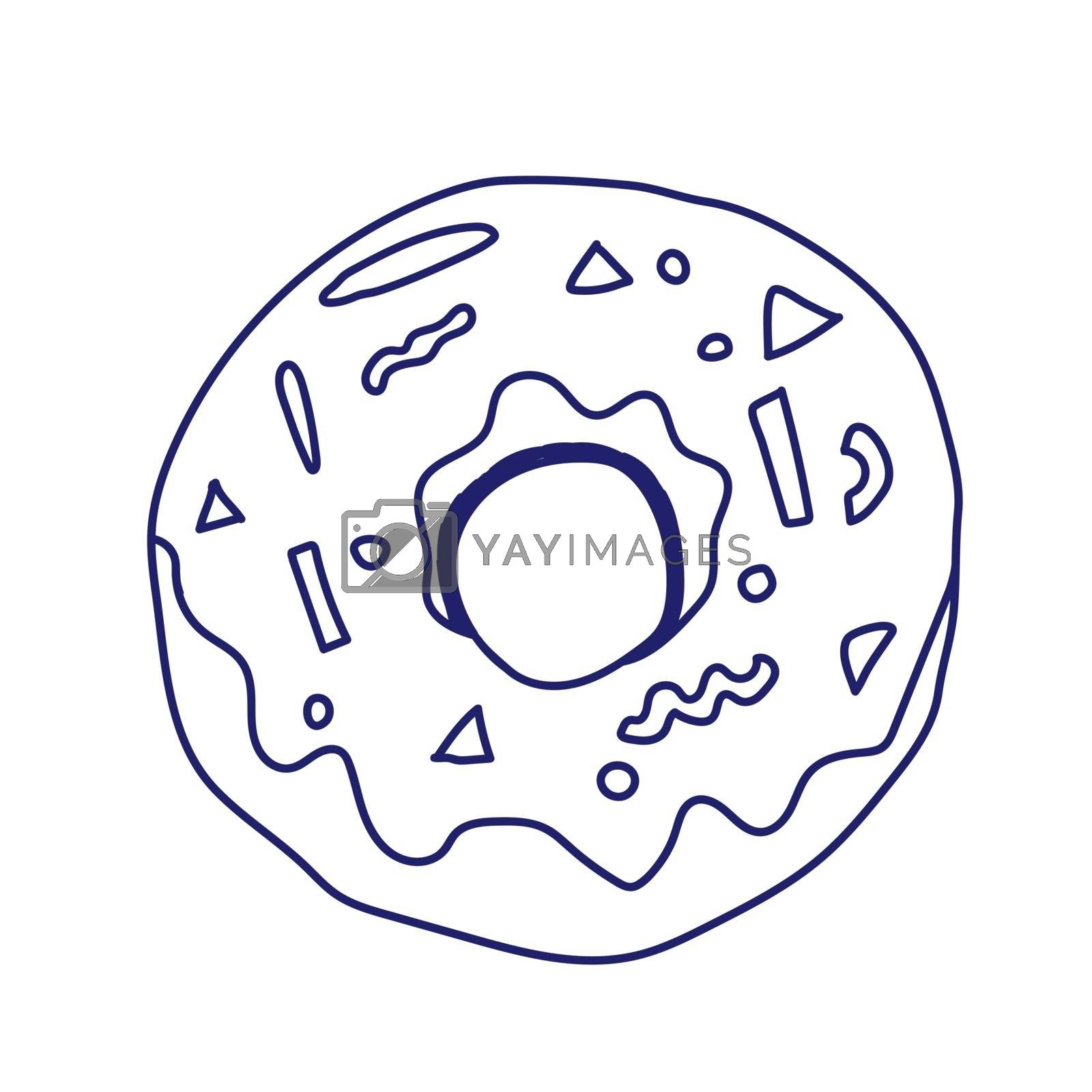 Donut isolated on white background. Vector illustration in a doodle style. Line art. Perfect for restaurant menu design, cafe, kitchen, web site, print on the cloth. Appetizing food image