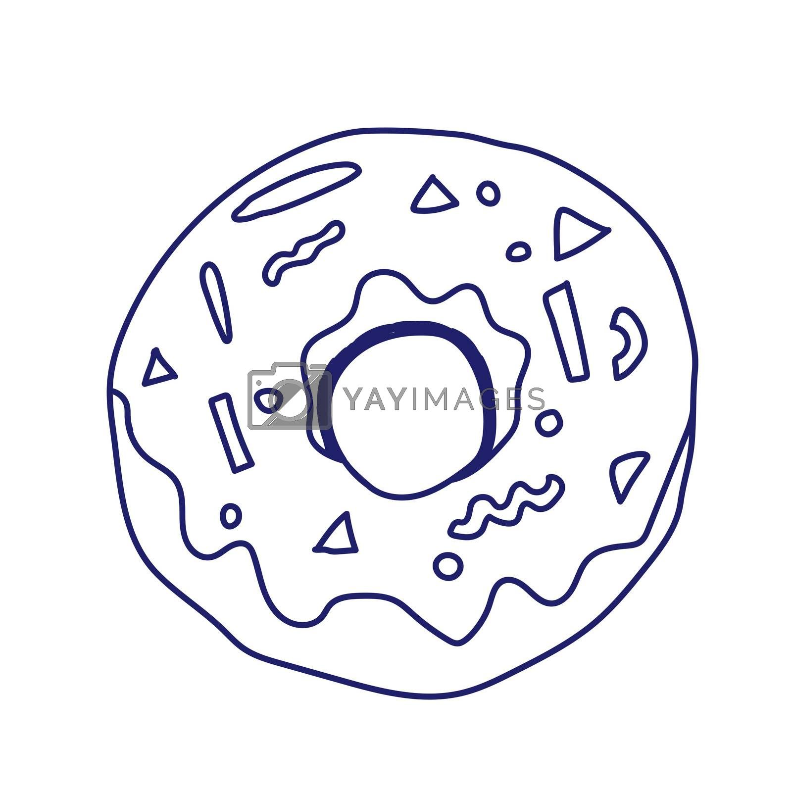 Donut isolated on white background. illustration in a doodle style. Line art. Perfect for restaurant menu design, cafe, kitchen, web site, print on the cloth. Appetizing food image