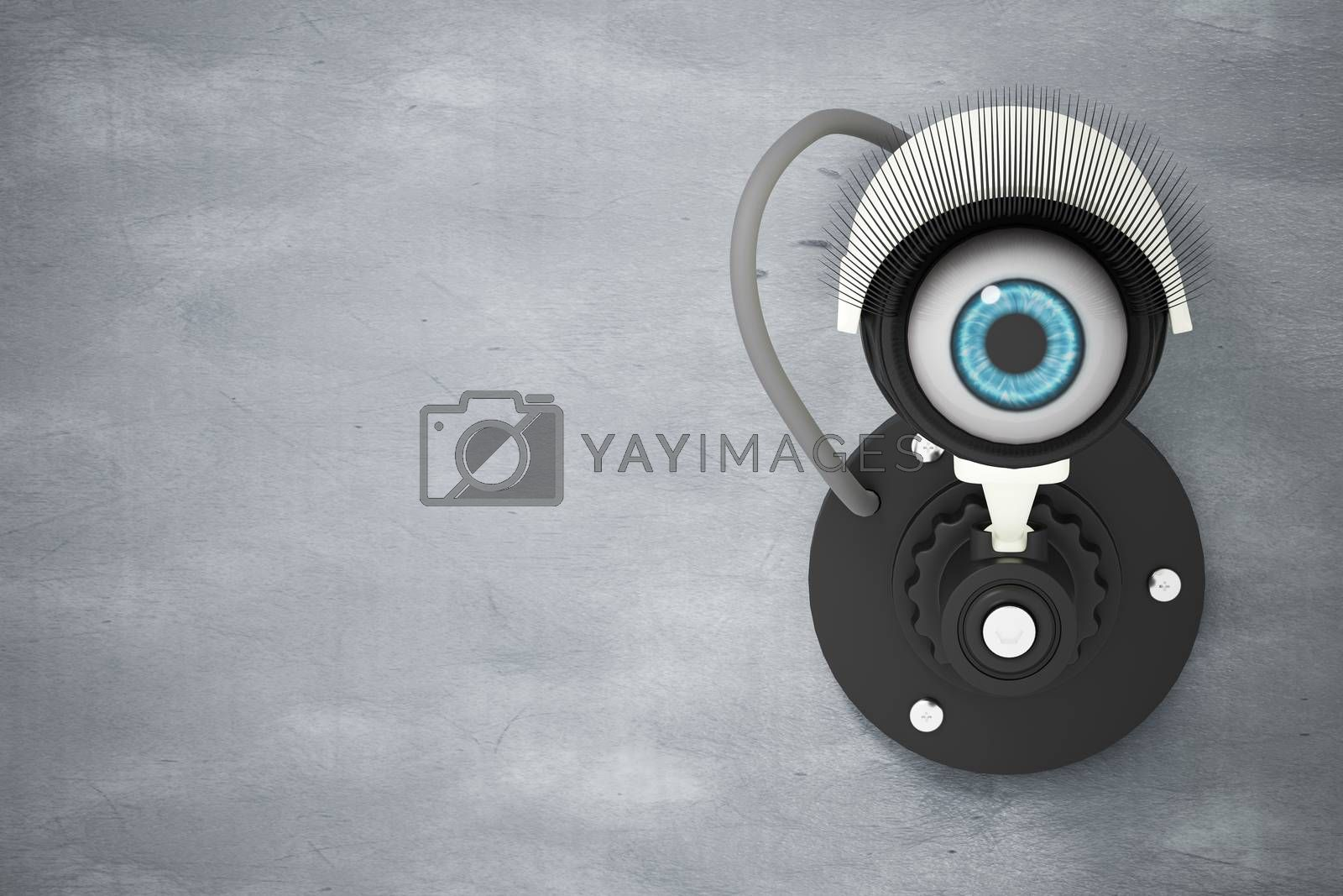 The white CCTV system installed on the cement wall with the eyes instead of the camera lens. The concept of security surveillance is like watching it all the time. 3D illustration rendering.