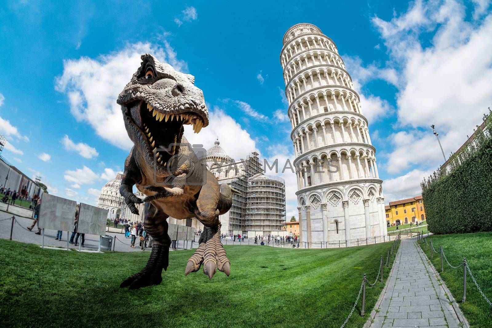 Dinosaurs model on The Leaning Tower of Pisa