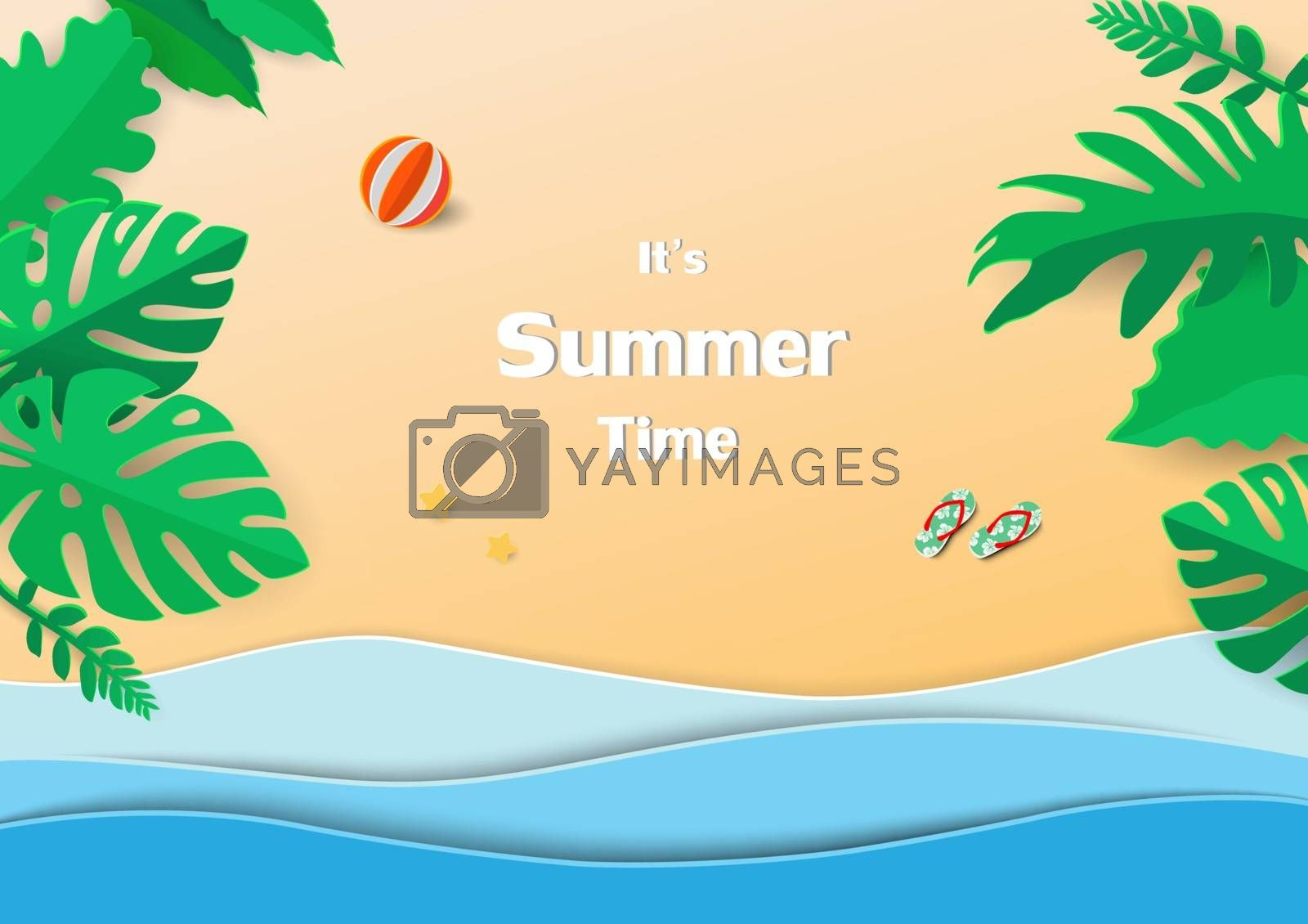 Concept of happy and relax on summer time,paper art design with tropical leaves,blue sea and beach,vector illustration