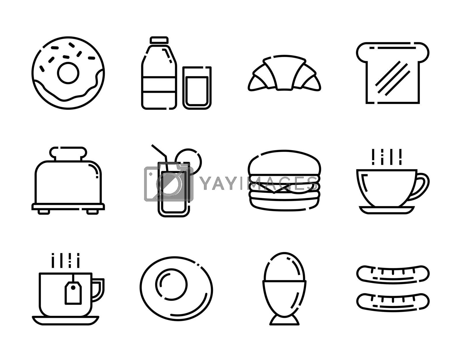 Breakfast icons set. Thin line style.