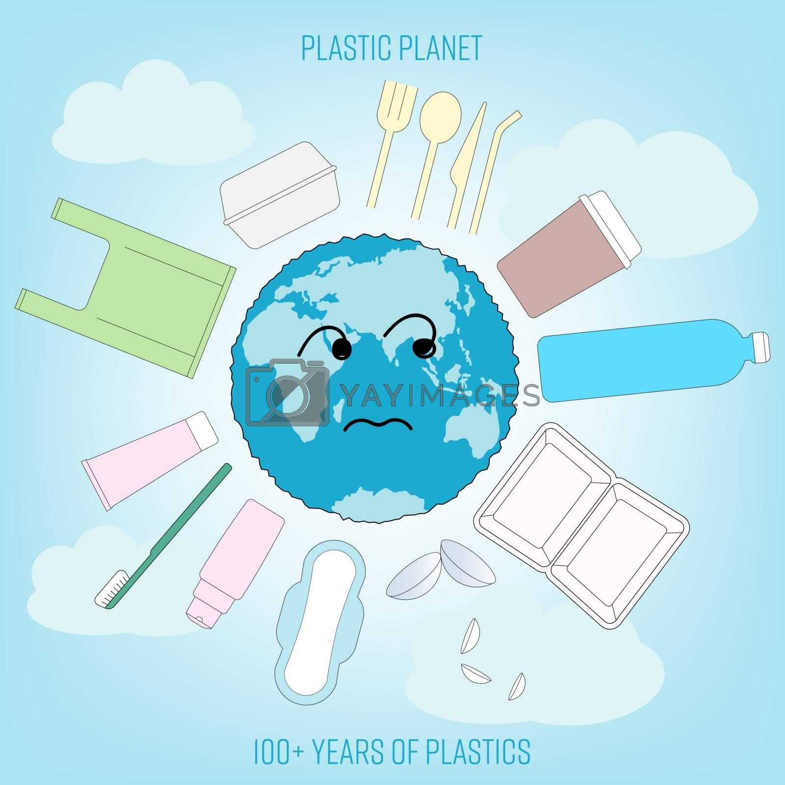 Cartoon earth surrounded by disposable consumer products outline flat icons. Planet suffered from single-use plastic pollution concept. Vector illustration.