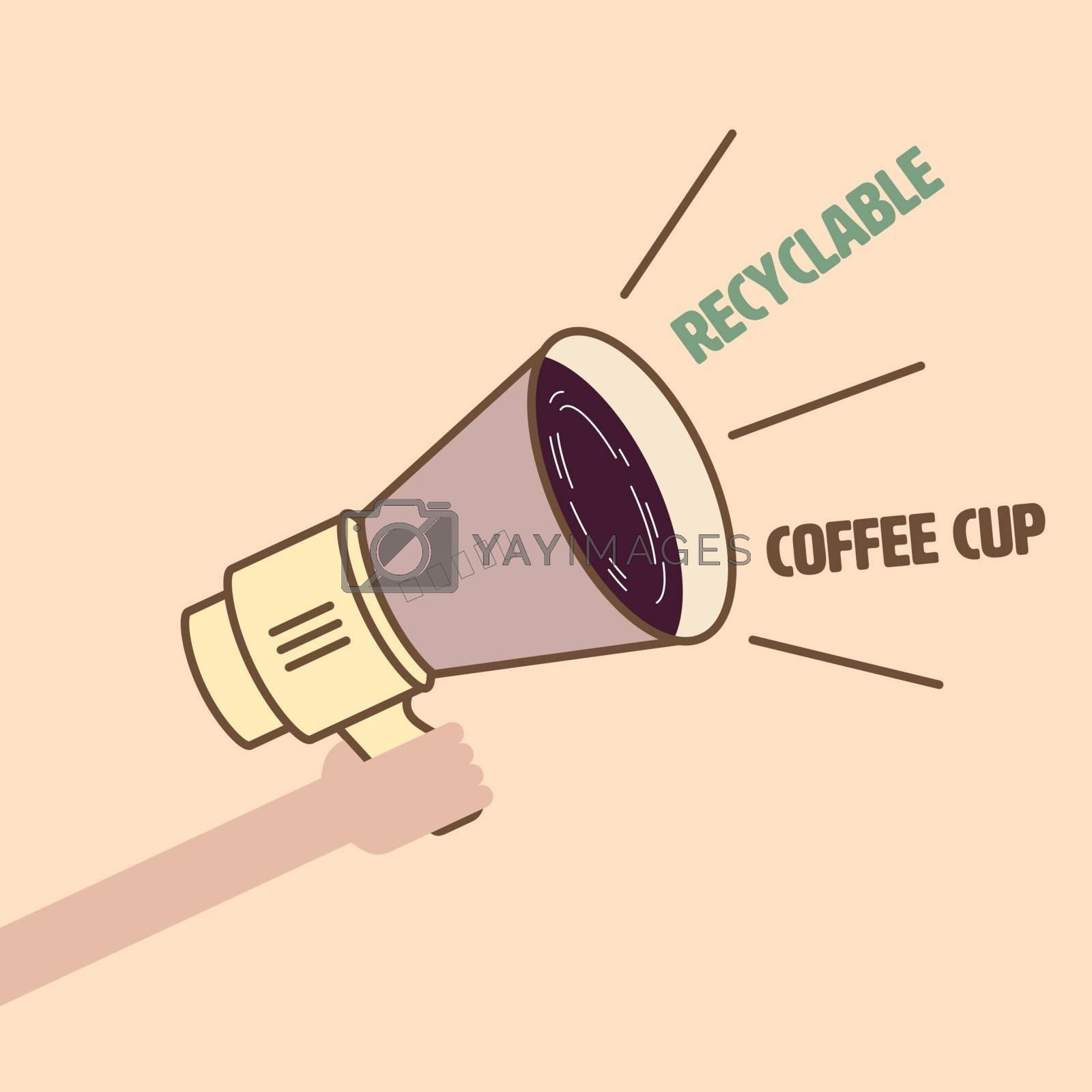 Single-use plastic coffee cup symbol apply to megaphone represent publicizing of recyclable product. Recyclable coffee cup promotion concept. Vector illustration.
