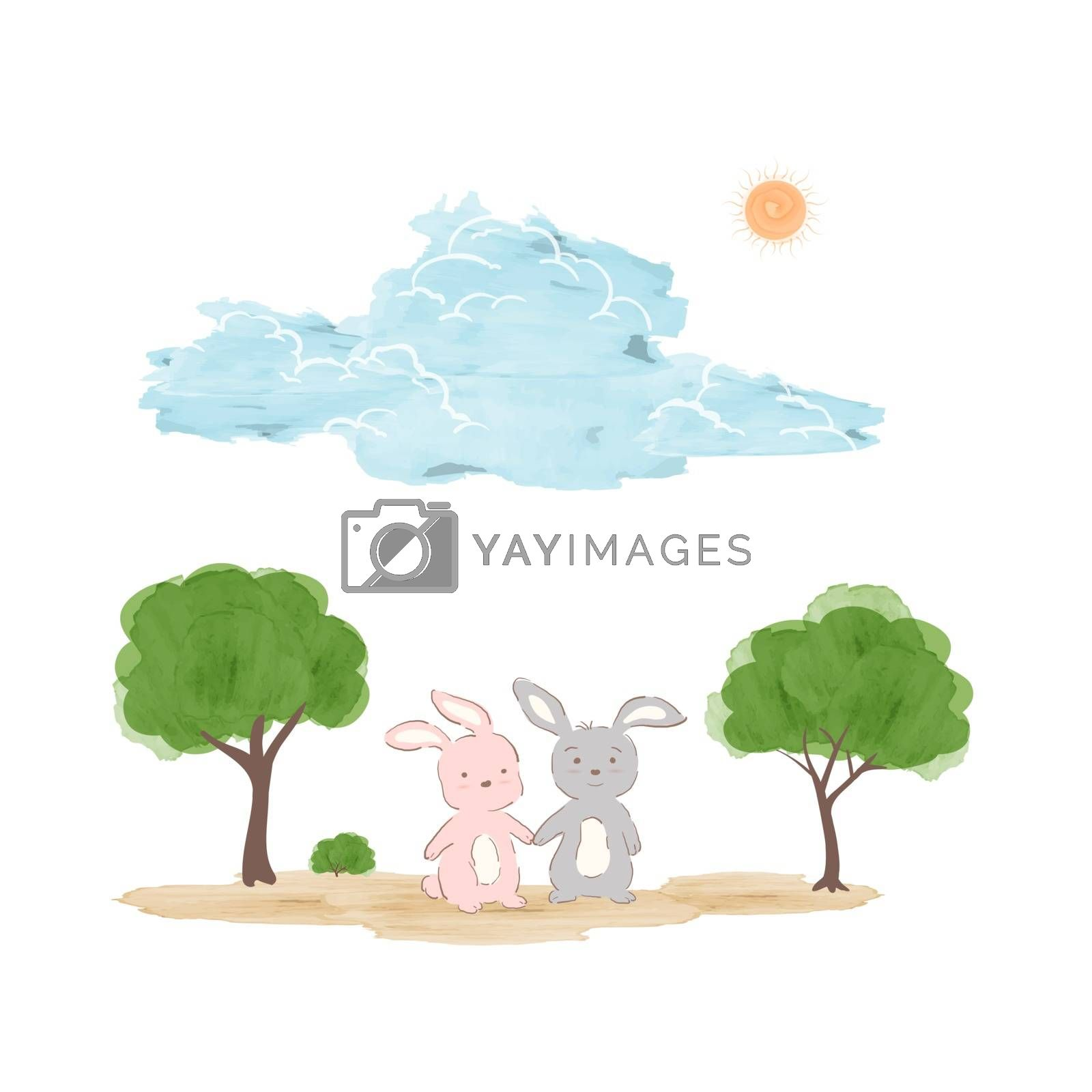 Springtime concept in watercolor technique,adorable rabbits on sunshine day for decorative,kid product,t-shirt or background,vector illustration