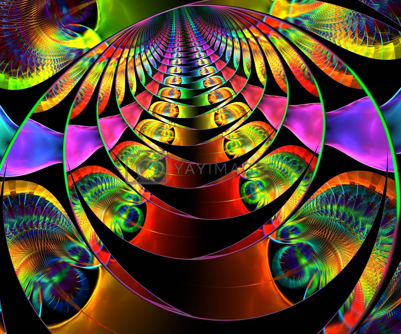Computer generated abstract colorful fractal artwork for creative art,design and entertainment