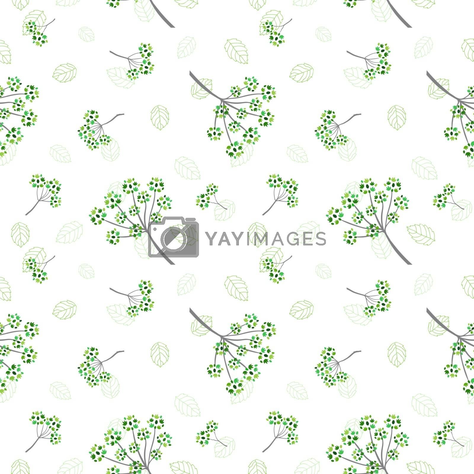 Monotone green flowers and leaves seamless pattern for decorative,fabric,textile,print or wallpaper by PIMPAKA