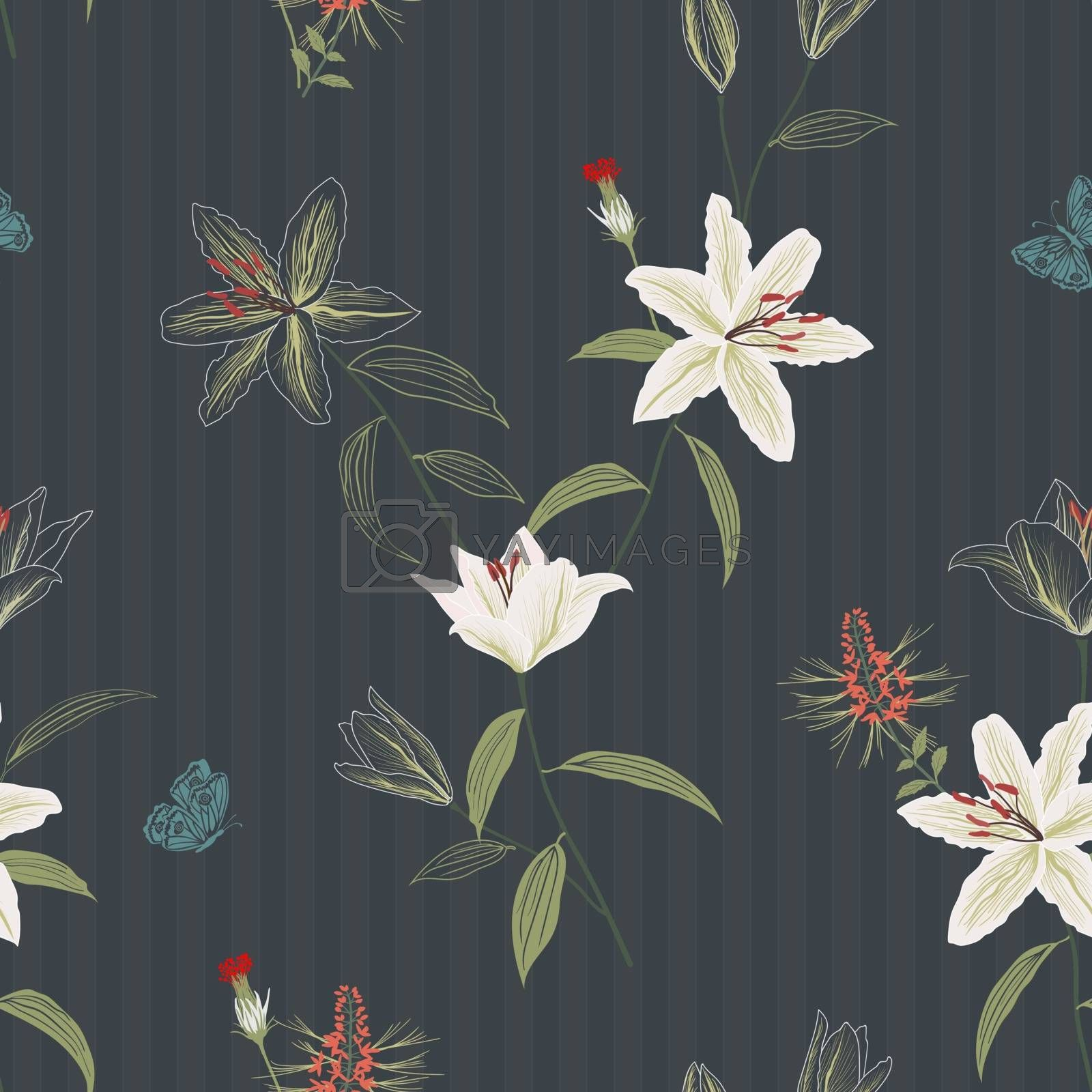 Beautiful hand drawn lily flowers seamless pattern on dark background,for decorative,fabric,textile,print or wallpaper,vector illustration