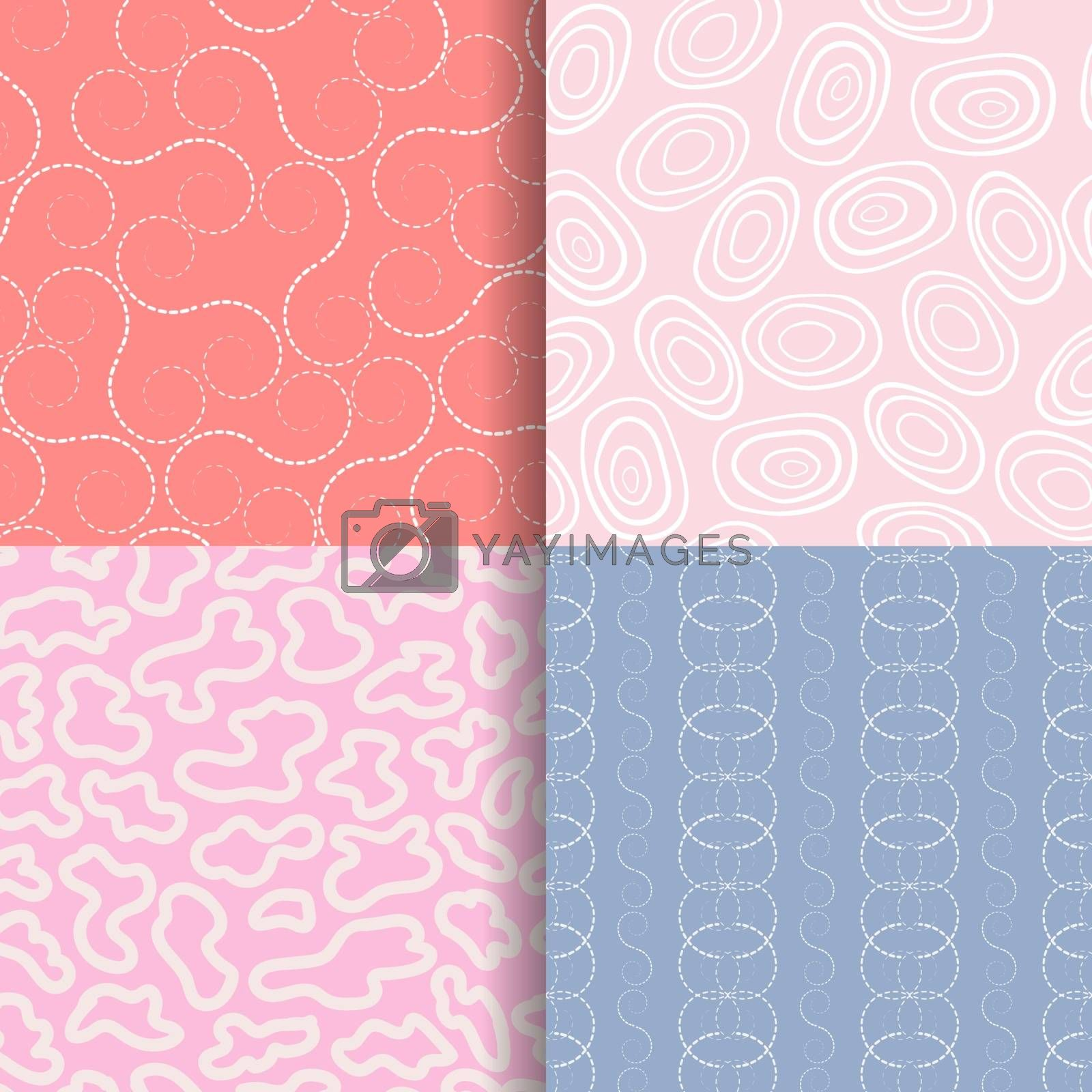 4 hand drawn seamless pattern set,for decorative,fashion,fabric,wallpaper and all print,vector illustration