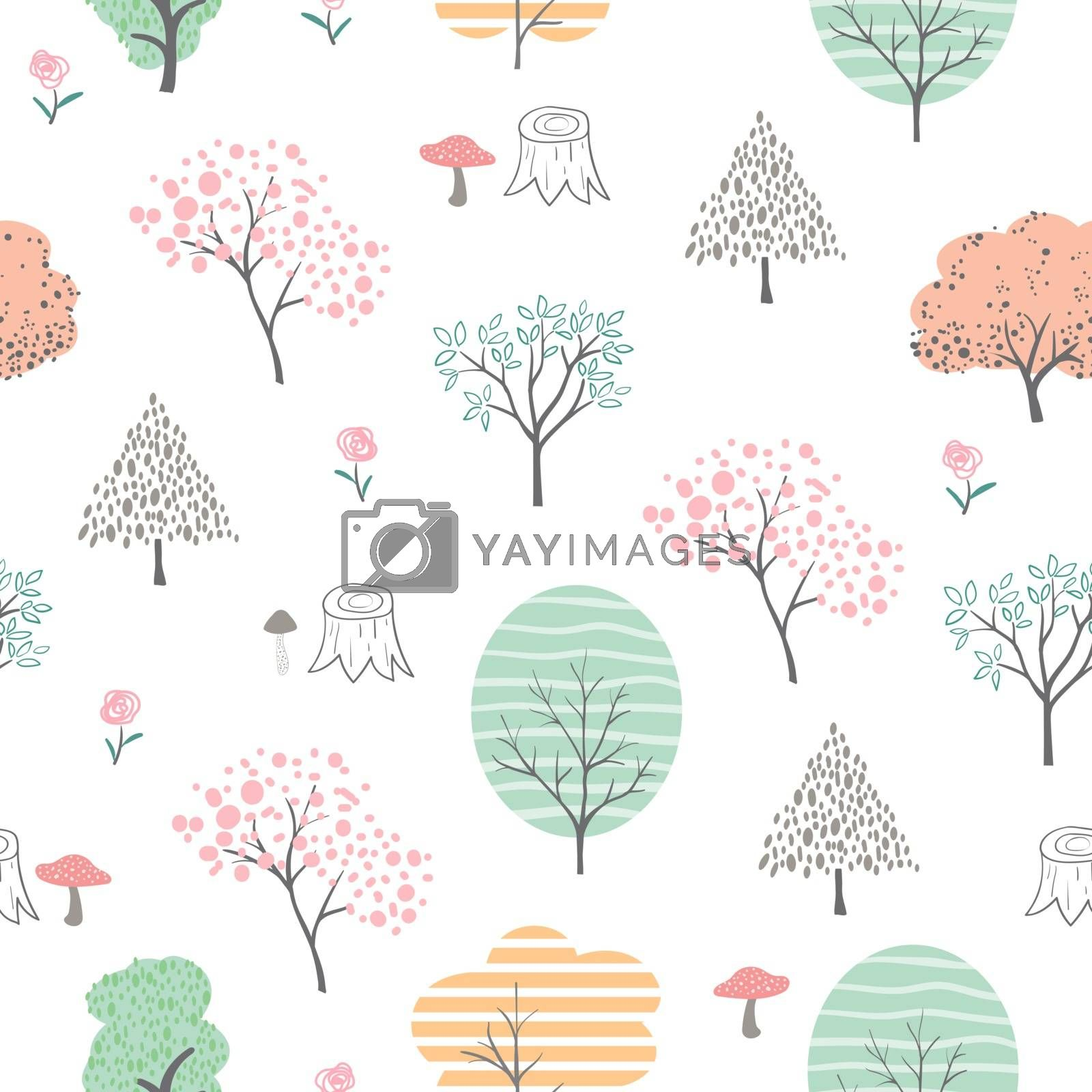 Cute colorful forest seamless pattern,hand drawn cartoon isolated on white background by PIMPAKA