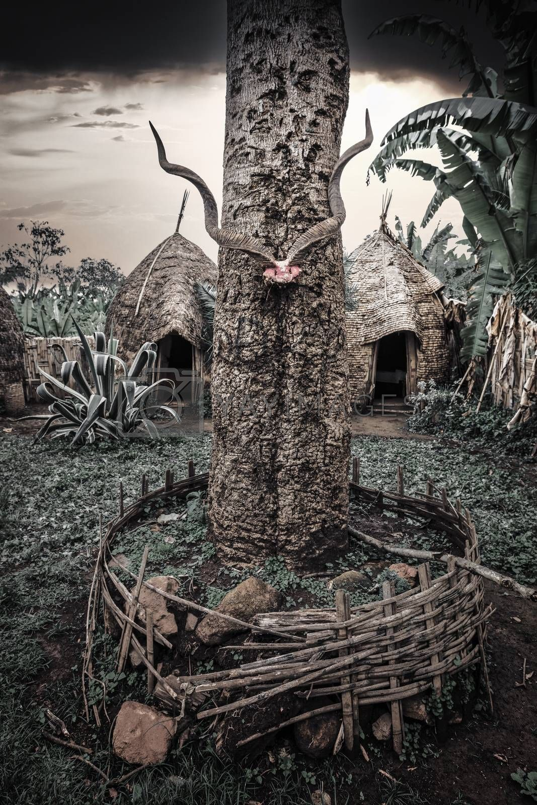 Totem in traditional elephant-shaped huts made of wood and straws in Dorze Village, Ethiopia.