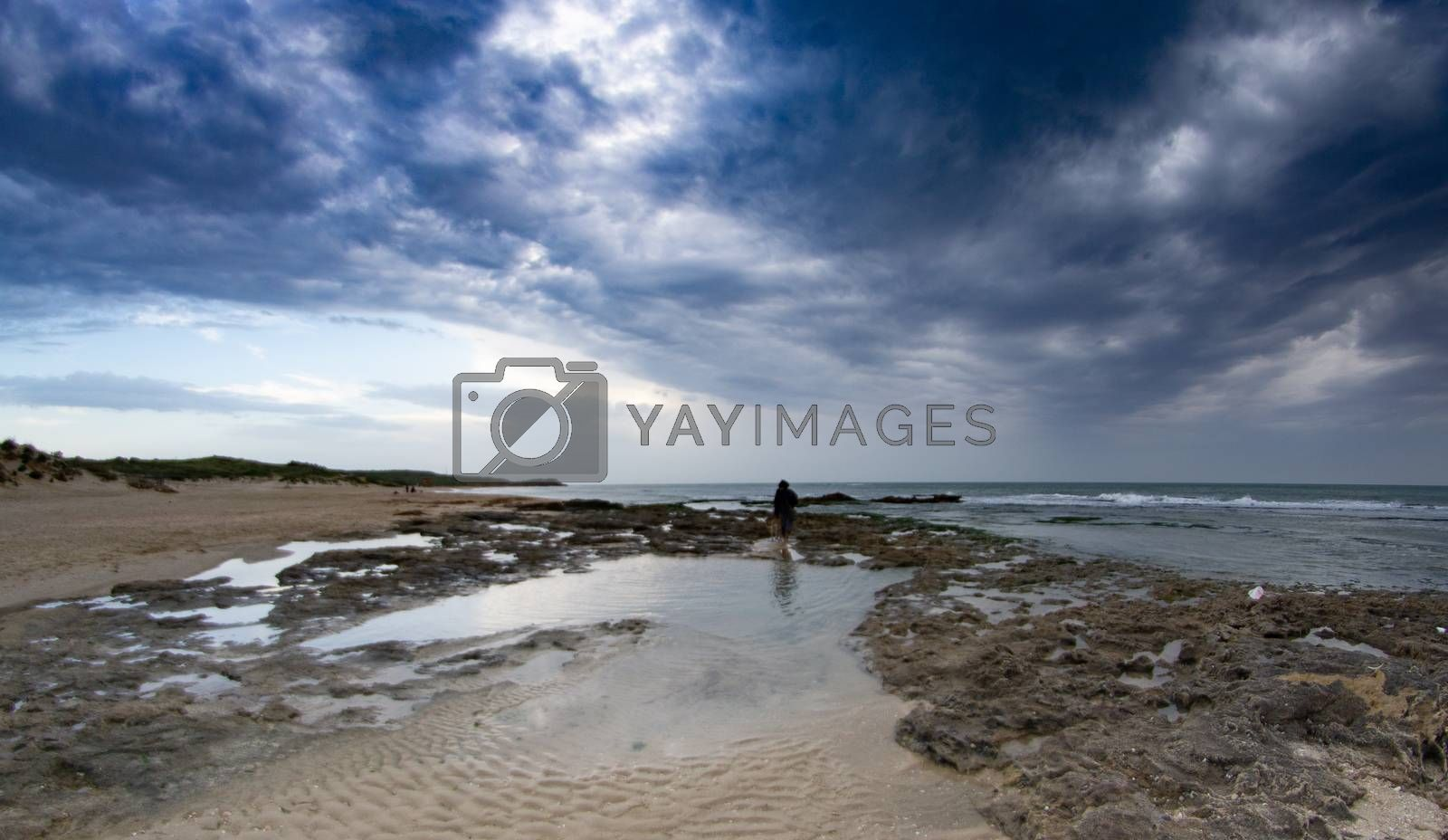 Stormy weather on Palmachim beach of Israel