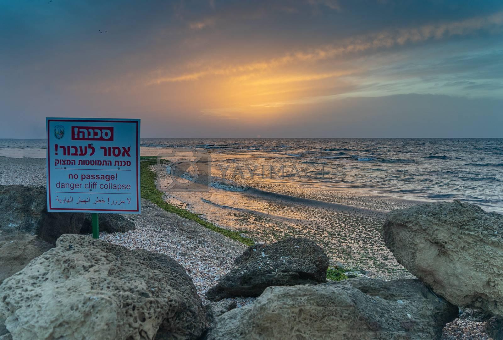 Romantic sunset on Palmachim beach, Israel