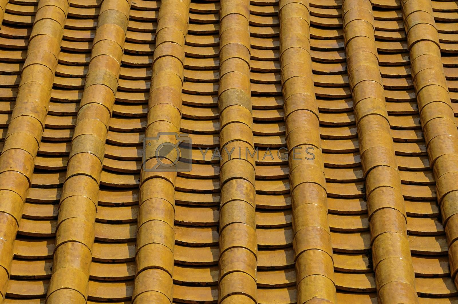 A perspective view of rows of old rustic terracotta roof tiles typical of those found on older traditional buildings in Asia and the Mediterranean.