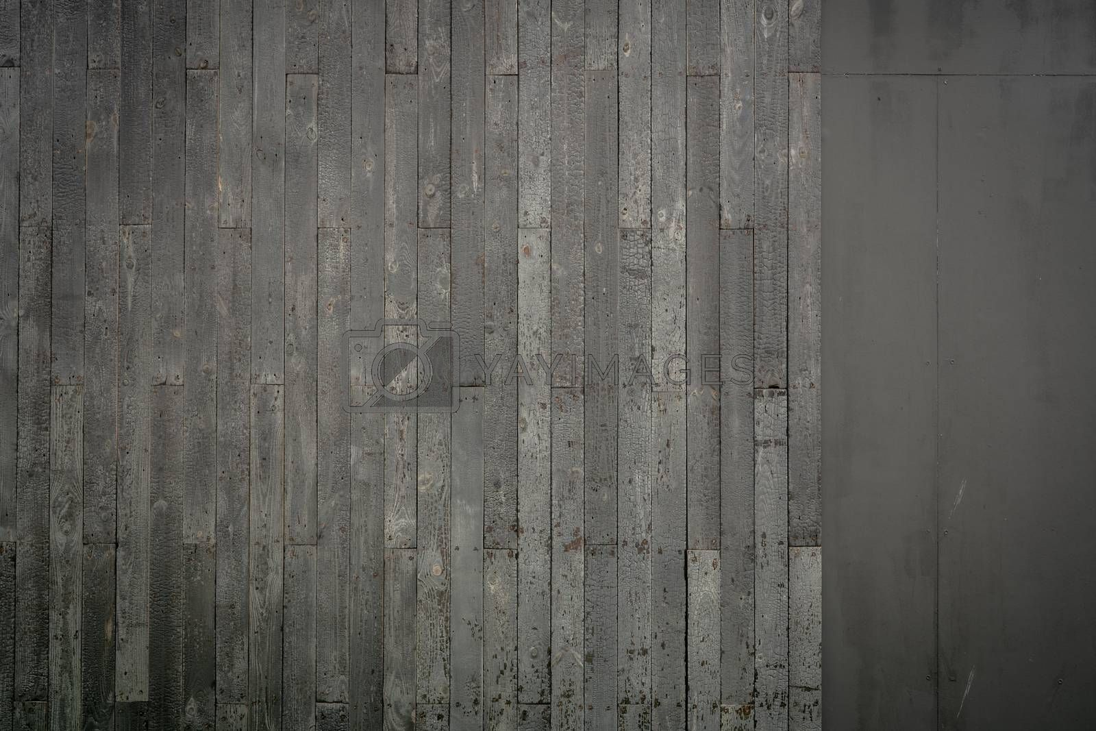 Top view grey old wooden floor texture background. Wood plank surface texture background. Gray wood wallpaper for sad and death. Timber wooden wall texture background. Interior design. Weathered wood.