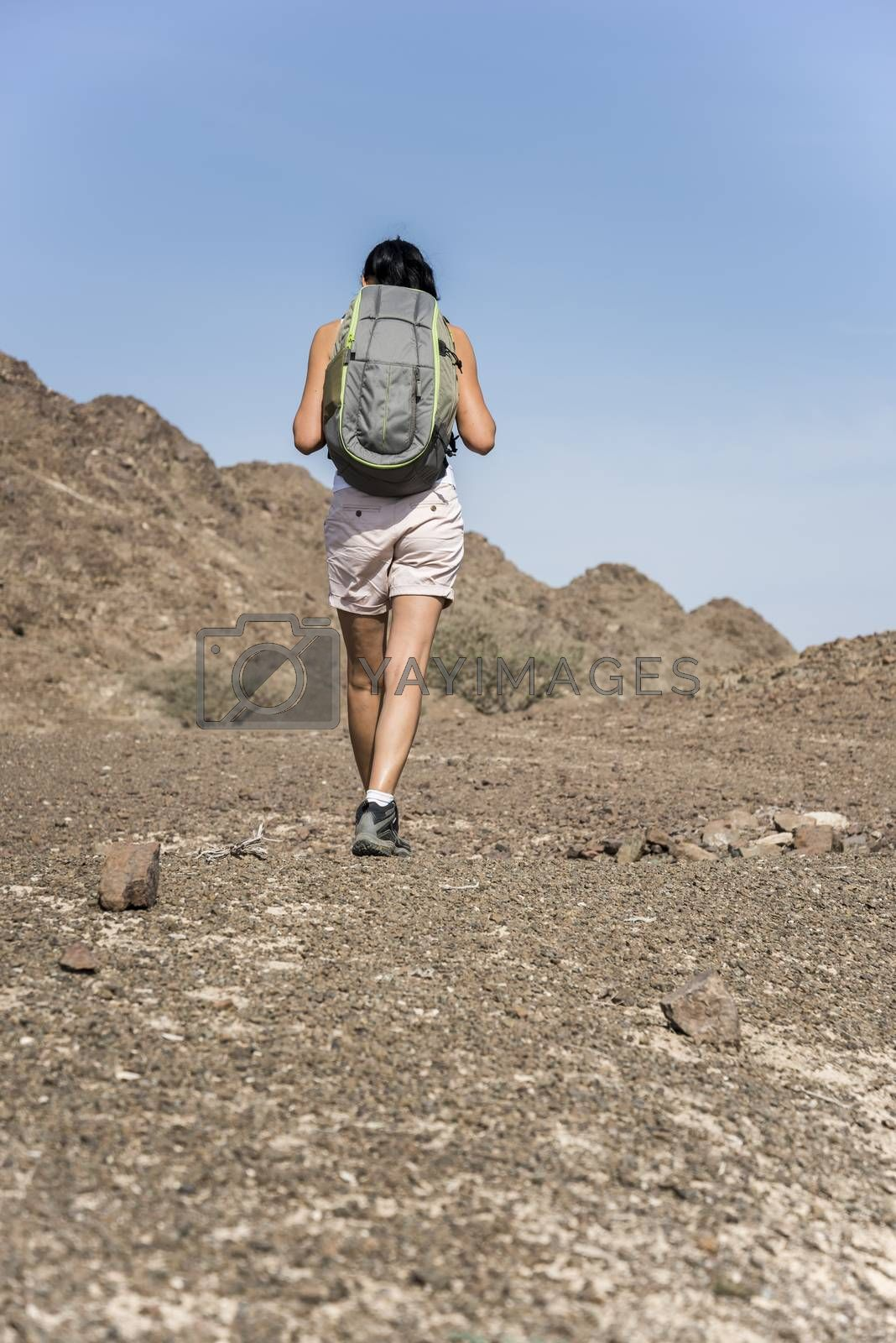Woman trekking in a Wadi (Dry mountains) of Showka, RAK, UAE by GABIS